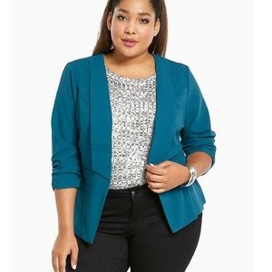 Torrid Turquoise Blue Ruched Sleeve Blazer